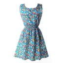 Blue Sleeveless Flora Print A-line Dress
