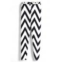 Stripe Print Curve Geometry Slim Leggings
