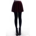 Burgundy A-line Pleuche Skirt