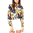 Floral Print Point Collar Long Sleeve Blouse