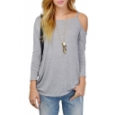 Gray Single Cold Shoulder Long Sleeve T-Shirt