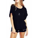 Black Short Sleeve Roll Cuff Aries T-Shirt