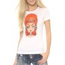 White Short Sleeve Orange Hair Girl Slim T-Shirt