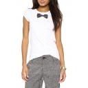 White Bow Print Short Sleeve T-Shirt