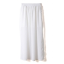White Elastic Waist Chiffon Split Hem Maxi Skirt