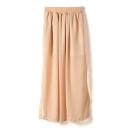 Nude Plain Elastic Waist Chiffon Split Hem Skirt