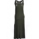 Hunter Green Modal Racerback Tanks Longline Dress