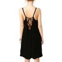 Black Spaghetti Strap Strappy Back A-Line Dress