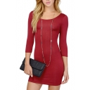 Red 3/4 Sleeve Cutout Back Fitted Dress