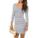 Mono Stripe Scoop 3/4 Sleeve Cutout Dress