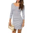 Mono Stripe Scoop 3/4 Sleeve Cutout Dress