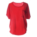 Red Short Sleeve Pocket Front Chiffon Blouse