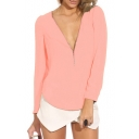Pink Long Sleeve Zippered V-Neck Chiffon Blouse