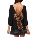 3/4 Sleeve Back Leopard Bow Chiffon Blouse