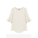 White 1/2 Ruffle Sleeve Loose Chiffon Blouse