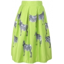 Zebra Print High Waist Pleated Midi Skirt