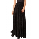 Black Geo-Tribal Pattern Print Velvet Maxi Skirt