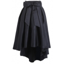 Bowknot High Waist Plain Pleated Skirt with Dip Hem