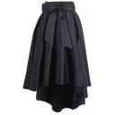 Bowknot High Waist Plain Pleated Skirt with Dip Hem