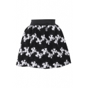 Mono Floral Print Wool Mini Skirt with Elastic Waist