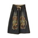 Floral Embroidered Elastic Drawstring Waist Pockets Midi Skirt