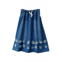 Floral Embroidered Ripped Hem Elastic Pockets Drawstring Waist Midi Skirt