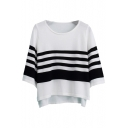 High-Low Hem Stripe Navy Style 3/4 Sleeve Sweater