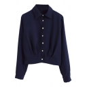 Crop Jacket Style Chiffon Plain Shirt