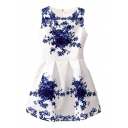 Blue and White Porcelain Flower Print White Tanks Dress