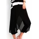 Black Chiffon Asymmetrical Cropped Bloomers Pants