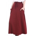Drawstring Waist Plain A-line Plain Maxi Skirt