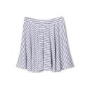Stripe Print Ruffle Hem A-line Full Skirt
