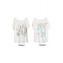 Colorful Feather&Dandelion Print White Tee