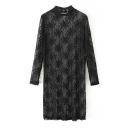 Illusion Style High Collar Plain Lace Flower Crocheted Long Sleeve Dress