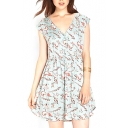 V-Neck Short Sleeve Snail Print A-line Dress
