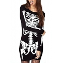 Punk Style Skeleton Print Black Long Sleeve Dress