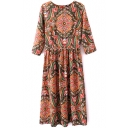 1/2 Sleeve Round Neck Vintage Court Pattern Print Longline Dress