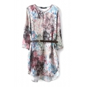 3/4 Sleeve Rural Style Flower Print Loose Dress with Belt