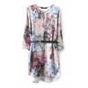 3/4 Sleeve Rural Style Flower Print Loose Dress with Belt