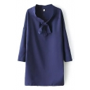 Purple Bow Print Drop Long Sleeve Shift Chiffon Dress
