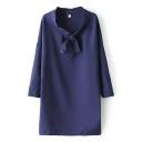 Purple Bow Print Drop Long Sleeve Shift Chiffon Dress