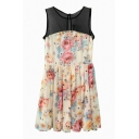 Mesh Insert Floral Print Sleeveless Pleated Dress