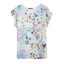 Short Sleeve Round Neck Plum Flower Print Blouse
