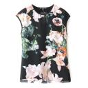 Black Cap Sleeve Pink Blossom Print Top
