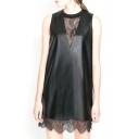 Black PU Lace Insert V-Neck Sleeveless Dress