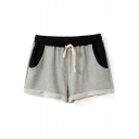 Color Block Drawstring Waist Fitted Shorts