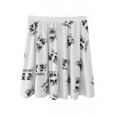 White Print Elastic Waist Ruffle Hem Skirt
