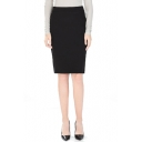 Black Concise Side Zipper Pencil Skirt