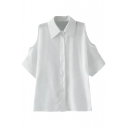 White 1/2 Cutout Sleeve Slim Shirt