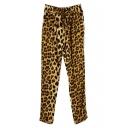 Leopard Print Drawstring Waist Harem Pants